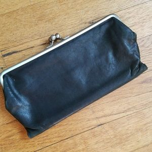 Handbags - Genuine leather wallet clutch with ball snap clasp